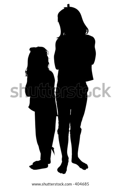 Silhouette over white with clipping path. Two Small Girls Looking at Each Other.