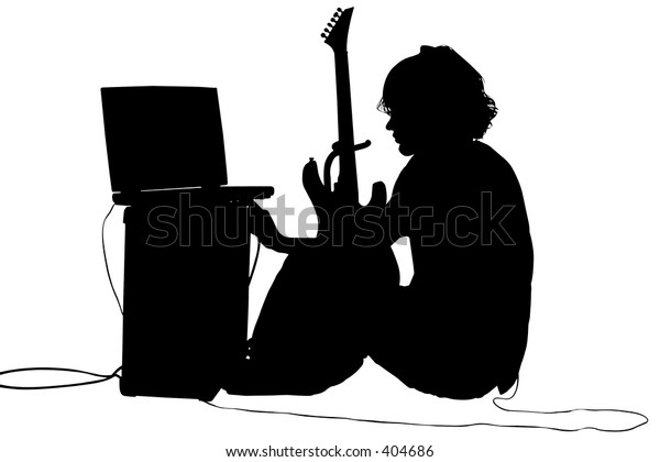 Silhouette over white with clipping path. Teen boy with guitar, amp, computer.