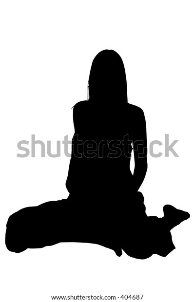 Silhouette over white with clipping path. Woman sitting.