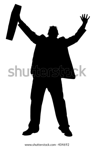 Silhouette over white with clipping path. Man in suit with briefcase.