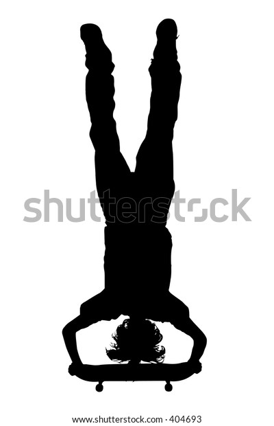 Silhouette over white with clipping path. Teen Boy Doing Handstand On Skateboard.