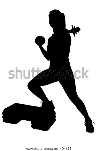 Silhouette over white with clipping path. Woman Doing Step Aerobics.