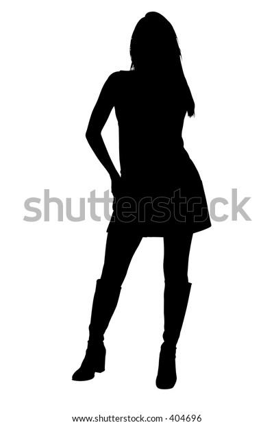 Silhouette over white with clipping path. Sexy Female Model,