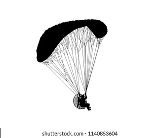 silhouette paraglider flying with paramotor  on white background.