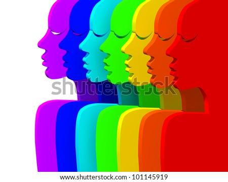silhouette people all colors rainbow stock illustration 101145919
