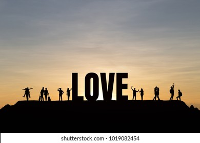 Silhouette of people and love text on top  Mountain, sky and sunset background. Success, challenge, motivation, achievement, love and goal concept.