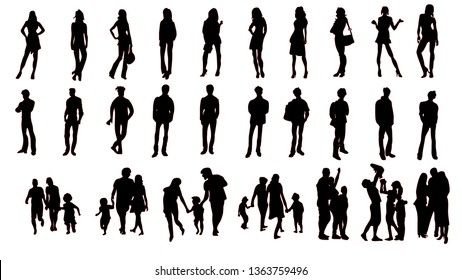 Silhouette of people on a white background (man, woman, family)