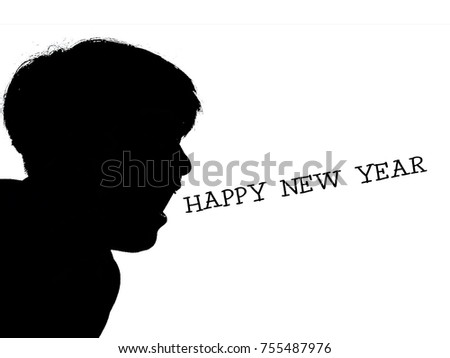 Silhouette Person Shouting Happy New Year Stock Illustration ...