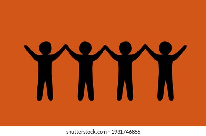 silhouette photo of team human figures.  sunset time on sky background.  hands up. four person. isolated on white background.
