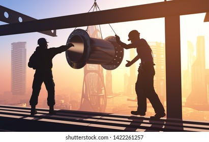 Silhouette pipe and builders.,3d render