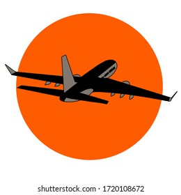 silhouette of the plane on the background of the sun