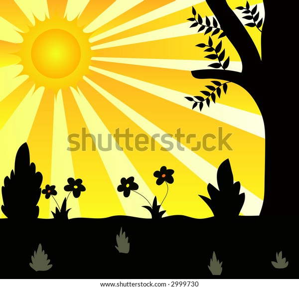 Silhouette of plants and trees with bright sun in summer