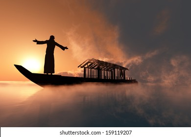 A silhouette of a priest  in a boat