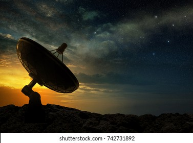 silhouette of a radio telescope at sunset, 3d illustration