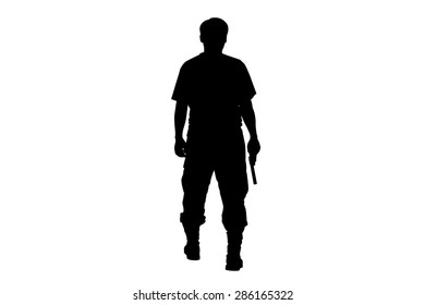 silhouette rear of man standing hold holding gun revolvers on isolate background
