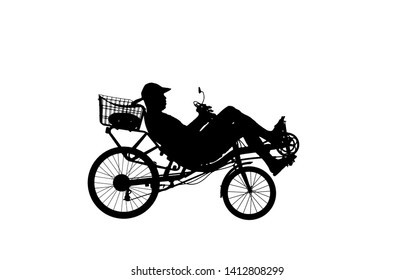 silhouette recumbent bicycle on white background