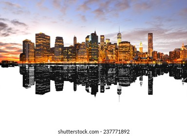 Silhouette reflection of New York skyline.