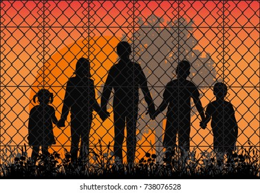 silhouette of refugees, children
