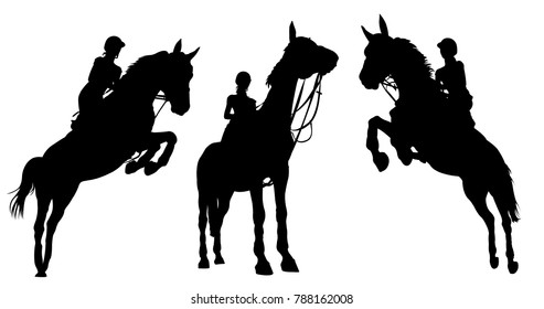Silhouette of a riders on a horse isolated on white background.