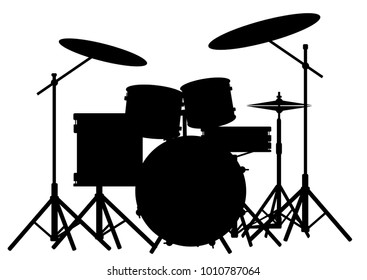 Silhouette of a rock bands drum kit isolated on white.