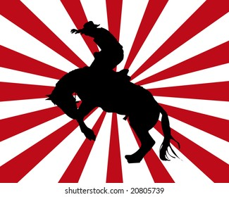Silhouette of a rodeo cowboy with a red and white background