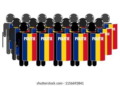 Silhouette of Romanian Anti-Riot Police