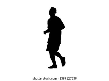 Silhouette running.This is men run exercise for Health At area Stadium Outdoors on white background with clipping path.
