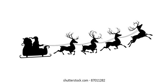 santa claus flying sleigh harnessed three stock vector royalty free