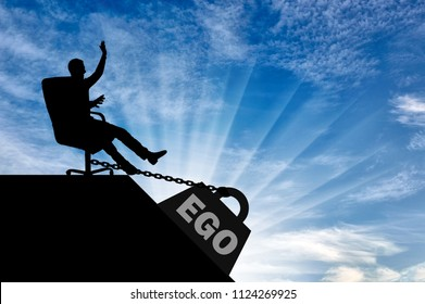 Silhouette of a selfish boss sitting in a chair and a heavy load of ego, pulling him into the abyss. Conceptual scene of selfishness