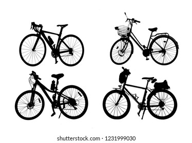 silhouette set off vintage bike on white background.