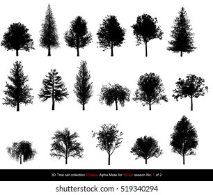 Silhouette Shadow black tree or alpha mask of Tree Winter season set for architecture landscape design, 3D Tree isolated on white No.1