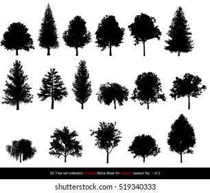 Silhouette Shadow black tree or alpha mask of Tree Autumn season set for architecture landscape design, 3D Tree isolated on white No.1