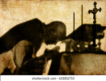 Silhouette shadow of a priest celebrating mass on a grungy textured wall. Abstract artistic conceptual design.