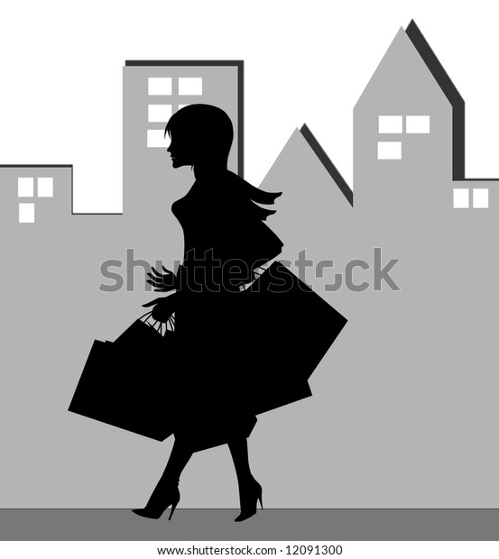 silhouette of a shopping  woman