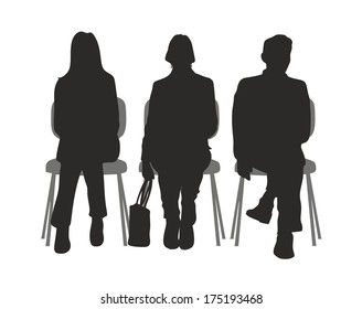 silhouette of sitting people in a waiting room