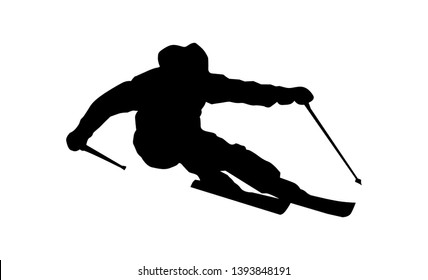 Silhouette of a skier in winter