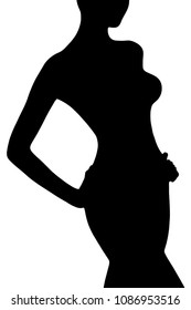 Silhouette of slim female body, isolated on white