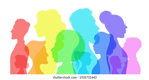 Silhouette social diversity. People of diverse culture. Men and women group profile. Racial equality in multicultural society  concept