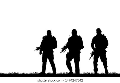 Silhouette of soldier with rifle on  white background