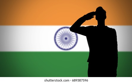 Silhouette of a soldier saluting against the india flag