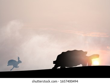 Silhouette of a sprinting rabbit chasing a crawling tortoise against a surreal sunset for the concept of slow and steady win the race.