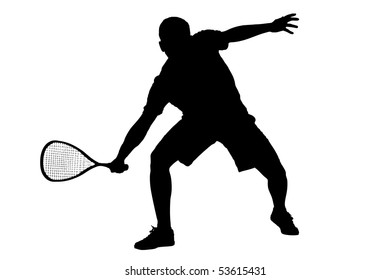 A silhouette of a squash player isolated on white background