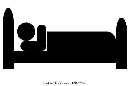 silhouette of stick man or figure lying down in bed