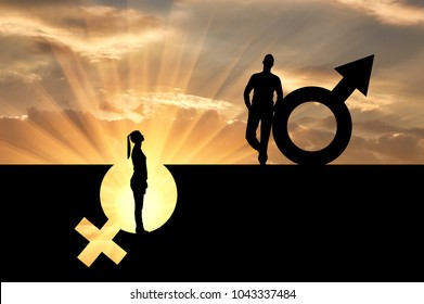 The silhouette of a superior man over a woman who stands in a pit out of a gender symbol. The concept of gender inequality