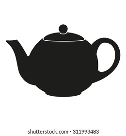 Silhouette symbol of classic teapot. Isolated of background.