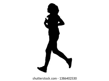Silhouette this is women run Exercise for Health At area Stadium Outdoors.