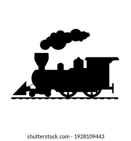Silhouette of a train drawing on a white background