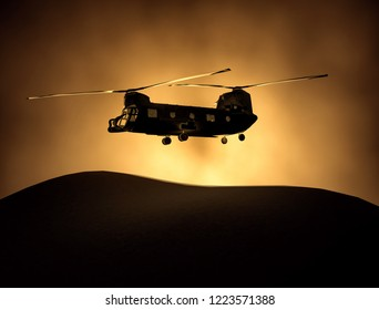 Silhouette of transport helicopter, soldiers rescue copter operations on sunset sky background. Flying in smog. 3D illustration