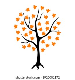 Silhouette of a tree with orange leaves, drawing