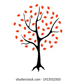 Silhouette of a tree with red leaves